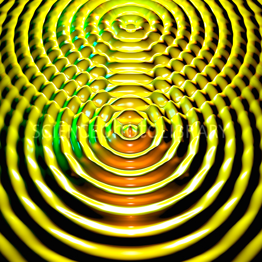 Interference patterns. Computer artwork showing two sets of circular waves interacting with each other. At the point where a wave peak from one hits a wave peak from another, or a trough hits a trough, they reinforce each other; their magnitudes are summed. This is known as constructive interference. Where a trough hits a peak or vice versa and they cancel each other out. This is known as destructive interference.